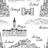 Travel  Scotland famous cities landmark with handmade calligraph Royalty Free Stock Photo