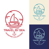 Travel by sea. Maritime collection illustration. Summer Travel Design - Sail Boat. Maritime collection illustration Royalty Free Stock Images