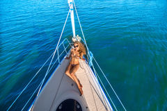 Travel by sea on a yacht. Stock Photography