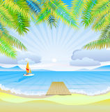Travel . The sea, yachts, palm trees.Furlough . Royalty Free Stock Image