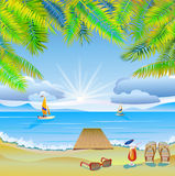 Travel . The sea, yachts, palm trees.Furlough . Stock Photography