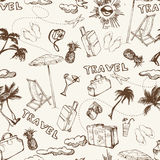 Travel seamless background. Hand drawn summer holidays pattern. Vector Stock Photography