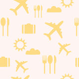 Travel seamless background pattern. Yellow vector illustration