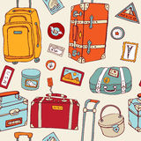 Travel seamless background. Suitcases and bags. Stock Photo