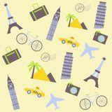 Travel seamless background Stock Photography