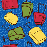 Travel seamless pattern with colored suitcases  illustrati Stock Photo