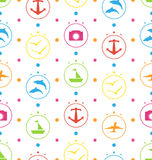 Travel Seamless Pattern with Colorful Elements Royalty Free Stock Photography
