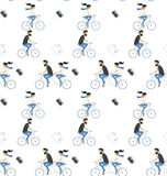Travel seamless pattern. Couple riding bicycle Royalty Free Stock Photos