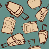 Travel seamless pattern with different suitcases hand drawing ve Royalty Free Stock Photo