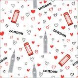 Travel seamless pattern. London vacation wallpaper. English land Royalty Free Stock Photo