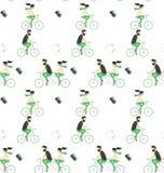 Travel seamless pattern. Travel style. Travel seamless pattern, couple just riding riding bicycle Stock Photo