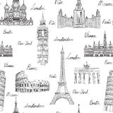 Travel seamless pattern. Vacation in Europe. landmarks. Travel background Royalty Free Stock Photography