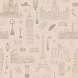Travel seamless pattern. Vacation in Europe wallpaper. Royalty Free Stock Photography