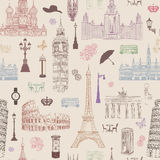 Travel seamless pattern. Vacation in Europe wallpaper. Travel concept Stock Photography