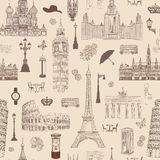 Travel seamless pattern. Vacation in Europe wallpaper. Travel to capitals Royalty Free Stock Photos