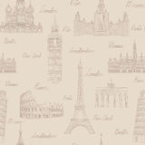Travel seamless pattern. Vacation in Europe wallpaper. Travel to Stock Photography