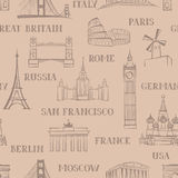 Travel seamless pattern. Vacation in Europe wallpaper. Travel to Royalty Free Stock Image