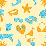 Travel seamless pattern vector collor Illustration Stock Photos