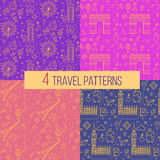 Travel Seamless Patterns Set: London and Paris Royalty Free Stock Photos