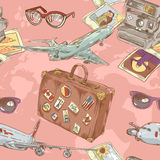 Travel seamless repeating pattern royalty free illustration
