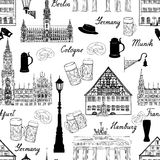 Travel seamlss pattern. Visit Germany background with sketch bee Royalty Free Stock Photography