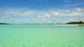 Lagoon at tropical beach in french polynesia. Travel, seascape and nature concept - lagoon at tropical beach in french polynesia stock video footage