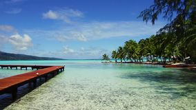 Wooden pier on tropical beach in french polynesia. Travel, seascape and nature concept - wooden pier and bungalows on tropical beach in french polynesia stock video footage