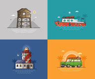 Travel Seaside Backgrounds. Travel seaside landscapes set with different sea coast scenes. Summer beach backgrounds with lighthouse, lifeguard tower, motor boat Stock Image