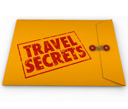 Travel Secrets Yellow Confidential Envelope Tips Advice Information. Travel Secrets words stamped on yellow confidential or classified envelope full of tips royalty free illustration