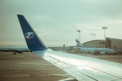 Travel Service airline commercial plane wing and El Al airline c Royalty Free Stock Photography