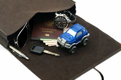 Travel set for auto adventure concept stock photography