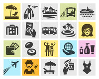 Travel set black icons. signs and symbols Stock Photos