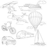 Travel set with car, air-balloons, ships, bike. Travel transport vector set with car, air-balloons, ships, bike, helicopter, ufo and train Royalty Free Stock Photos