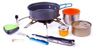Travel set for eating. Tourist's dish kit. Stock Photography