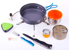 Travel set for eating. Tourist's dish kit. Various professional tools and items for outdoors cooking Royalty Free Stock Photos