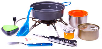 Travel set for eating. Tourist's dish kit. Various professional tools and items for outdoors cooking Stock Photo