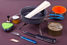 Travel set for eating. Tourist's dish kit. Royalty Free Stock Photography