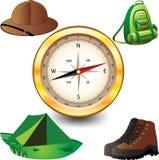 Travel set. Travel  set. Hiking and camping Royalty Free Stock Photo