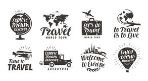 Travel set icons. Handwritten lettering. Label vector illustration Royalty Free Stock Photo