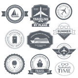 Travel set label template of emblem element for Stock Photos