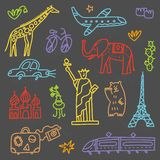 Travel set with lettering. Hand drawn vector illustration. Doodle style. Popular world symbols of tourism and traveling vector illustration