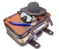 Travel Set On Suitcase Snorkel Mask Panama. Royalty Free Stock Photos