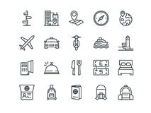 Travel. Set of outline vector icons. Includes such as Hotel, Route, Currency Exchange and other. Editable Stroke. 48x48. Pixel Perfect Royalty Free Stock Images
