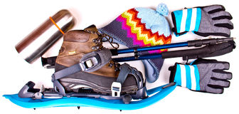 Travel set with snowshoes. Royalty Free Stock Photos