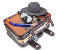 Travel set on suitcase  snorkel mask Panama. Royalty Free Stock Photos