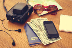 Travel set. Summer accessories. Royalty Free Stock Image