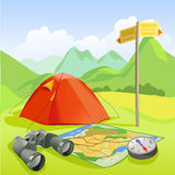 Travel set, tent, mountain landscape Royalty Free Stock Images