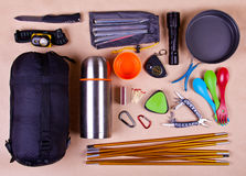 Travel set. Tourist outfit for camping or hiking. Royalty Free Stock Photography