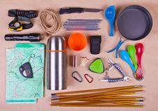 Travel set. Tourist outfit for camping or hiking. Stock Photos