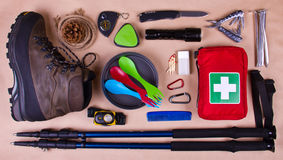 Travel set. Tourist outfit for camping or hiking. Stock Photography